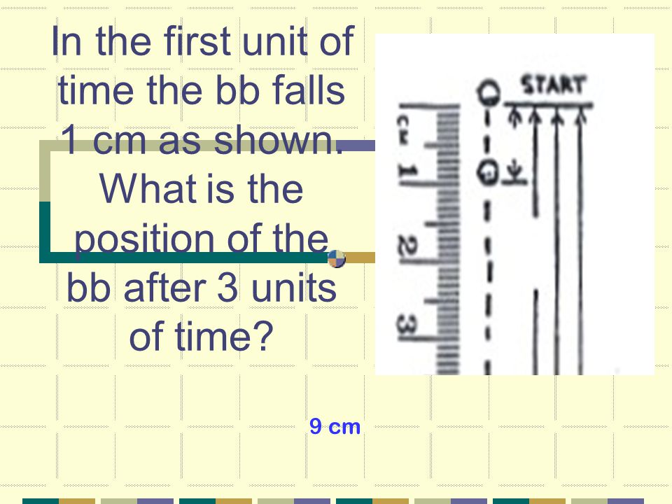 In the first unit of time the bb falls 1 cm as shown.