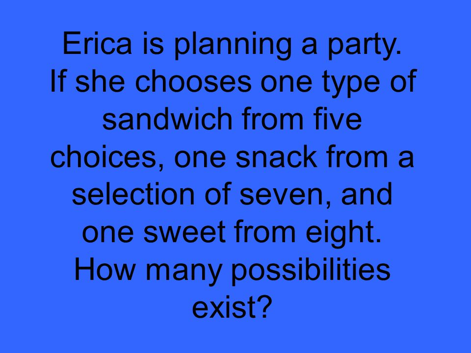 Erica is planning a party.
