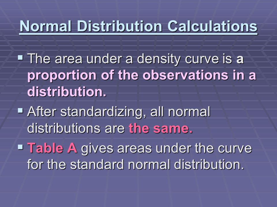 Normal Distribution Calculations  The area under a density curve is a proportion of the observations in a distribution.  After standardizing, all no