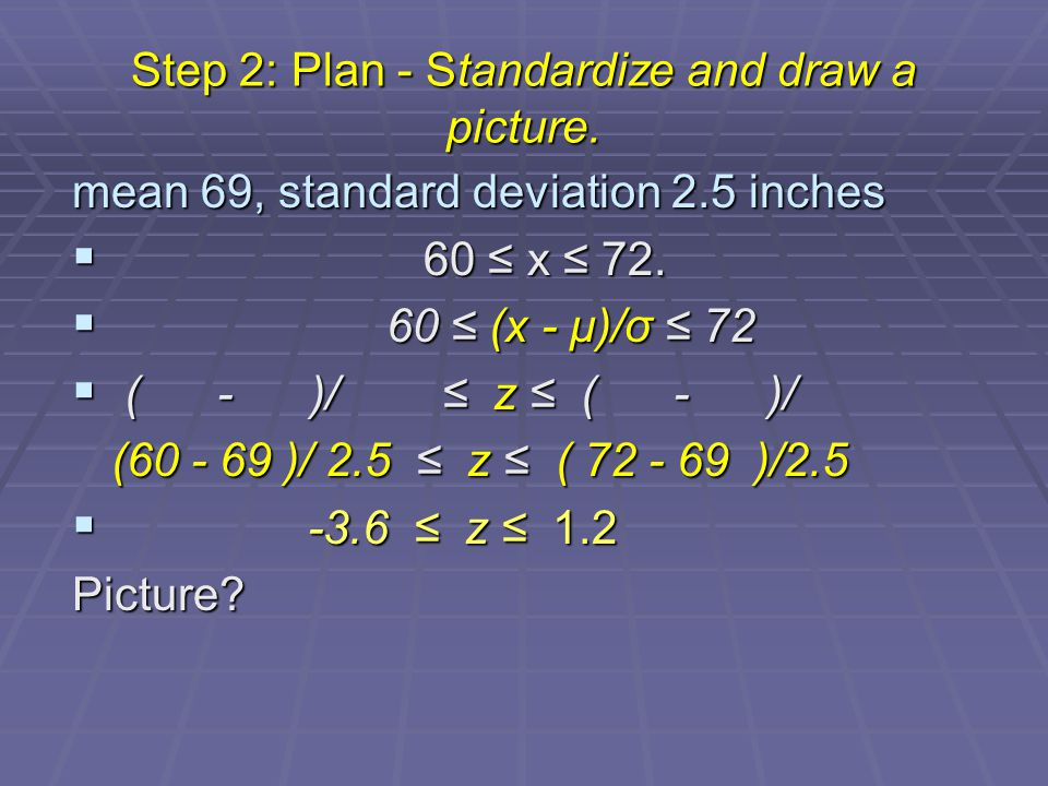 Step 2: Plan - Standardize and draw a picture.