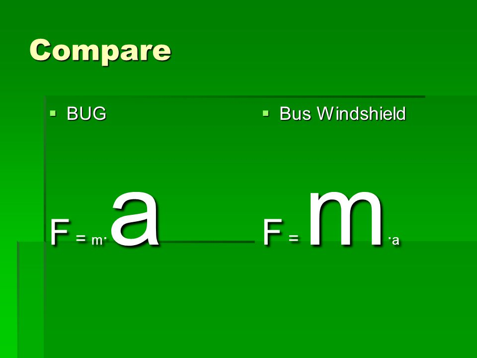 Compare  BUG F = m · a  Bus Windshield F = m · a