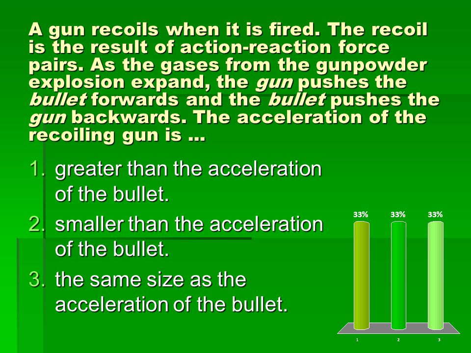 A gun recoils when it is fired. The recoil is the result of action-reaction force pairs.