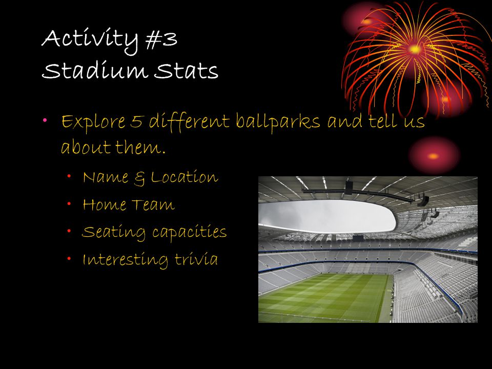 Activity #3 Stadium Stats Explore 5 different ballparks and tell us about them. Name & Location Home Team Seating capacities Interesting trivia
