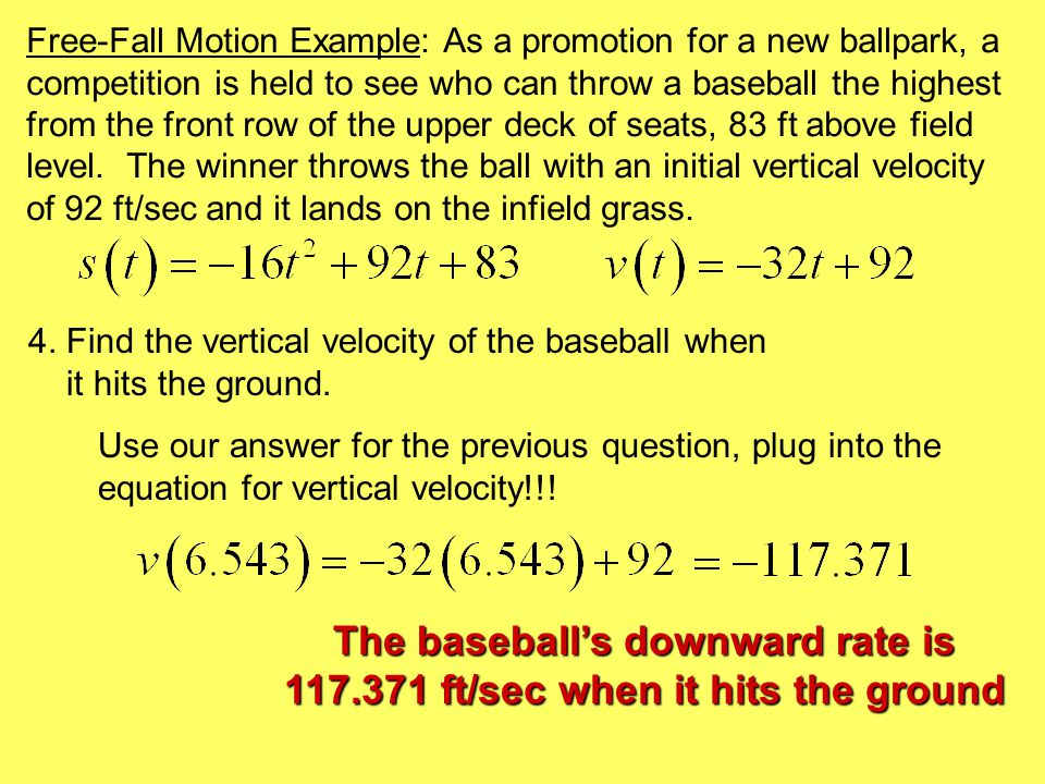 The following data were gathered by measuring the distance from the ground to a rubber ball after it was thrown upward: Time (sec)Height (m) 0.00001.03754 0.10801.40205 0.21501.63806 0.32251.77412 0.43001.80392 0.53751.71522 0.64501.50942 0.75251.21410 0.86000.83173 Use these data to write models for the height and vertical velocity of the ball.