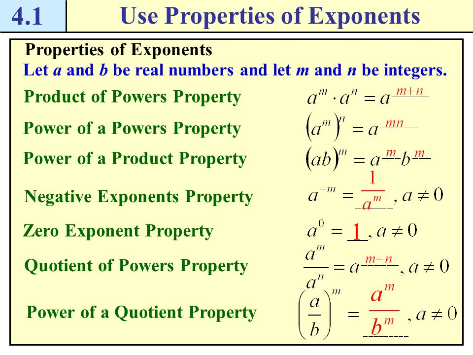 4.1 Use Properties of Exponents Checkpoint.Complete the following exercise.