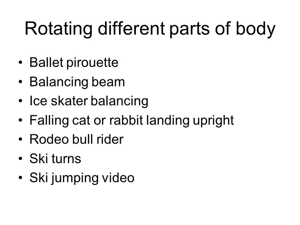 Rotating different parts of body Ballet pirouette Balancing beam Ice skater balancing Falling cat or rabbit landing upright Rodeo bull rider Ski turns Ski jumping video