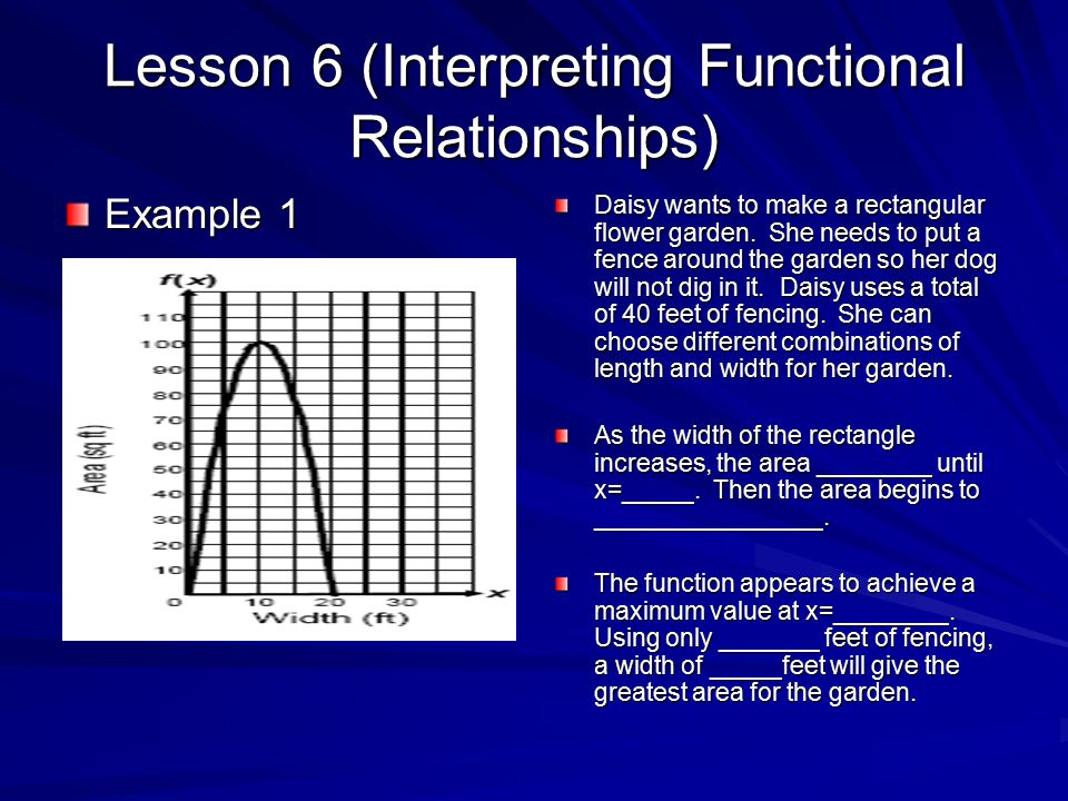Lesson 6 (Interpreting Functional Relationships) Example 1 Daisy wants to make a rectangular flower garden.