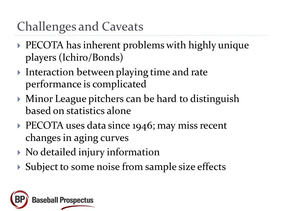 Challenges and Caveats  PECOTA has inherent problems with highly unique players (Ichiro/Bonds)  Interaction between playing time and rate performance is complicated  Minor League pitchers can be hard to distinguish based on statistics alone  PECOTA uses data since 1946; may miss recent changes in aging curves  No detailed injury information  Subject to some noise from sample size effects