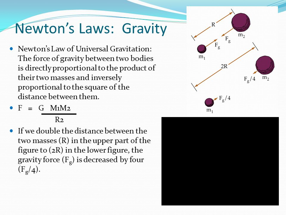 Newton's Laws: Gravity Newton's Law of Universal Gravitation: The force of gravity between two bodies is directly proportional to the product of their two masses and inversely proportional to the square of the distance between them.