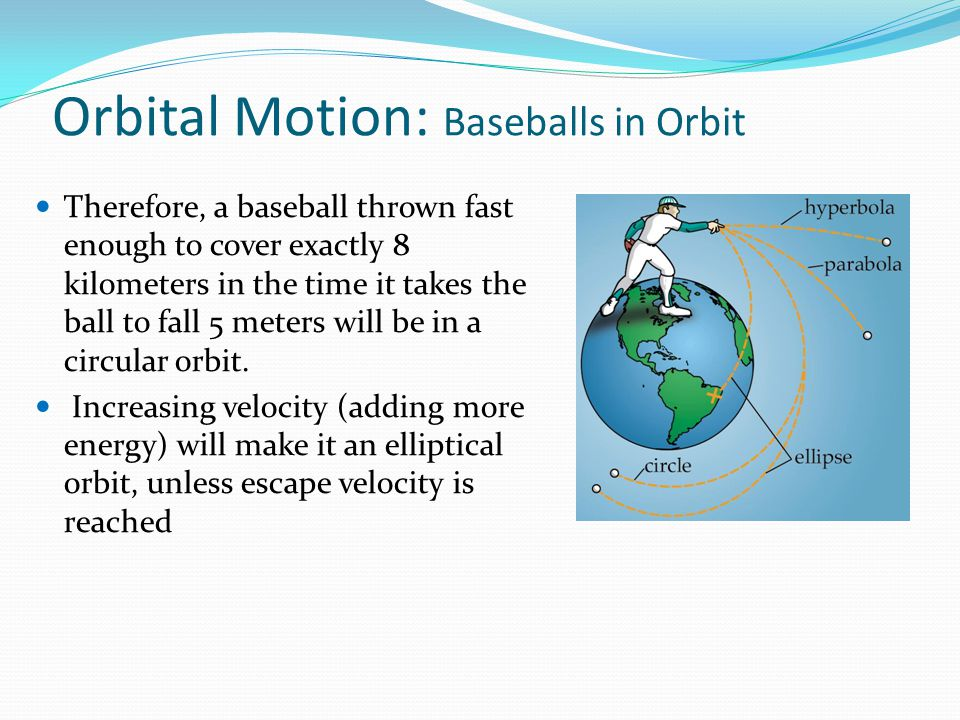 Orbital Velocity Orbital velocity – the speed an object must maintain to stay in orbit The closer an object is to Earth, the faster it needs to travel to remain in orbit The higher a spacecraft climbs from Earth, the slower it can travel and still resist gravity At an altitude of 124 miles the required orbital velocity is just over 17,000 mph (about 27,400 kph).