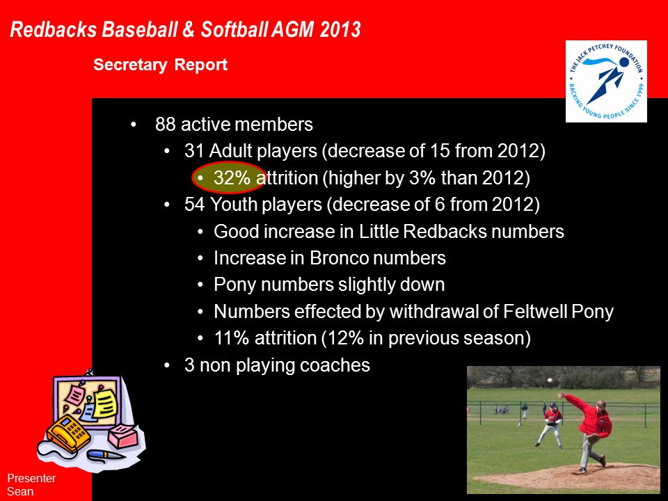 Redbacks Baseball & Softball AGM 2013 General Club Rules (to include softball and Forest Glade) 1.2 Amended Rule: The most senior representative baseball team shall be called the Essex Redbacks other Redbacks adult teams either baseball or softball shall be called Redbacks prefaced with a moniker showing the local region / area represented.