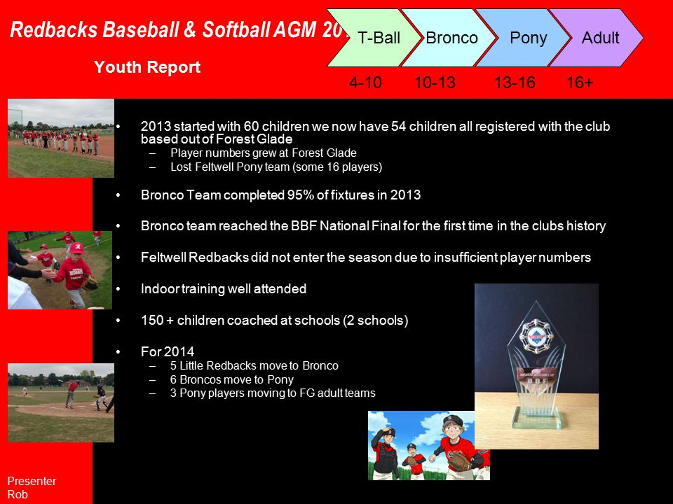 Redbacks Baseball & Softball AGM 2013 Player recruitment Need to recruit heavily in adults and youth to facilitate 3 rd adult team in 2014/15 and keep FG youth teams developing Suggested strategies More new content for web site including more authors Further our links and articles with local radio Continued high level press coverage Attending Open Sports events/open days Existing players / members - family and friends Any other suggestions .
