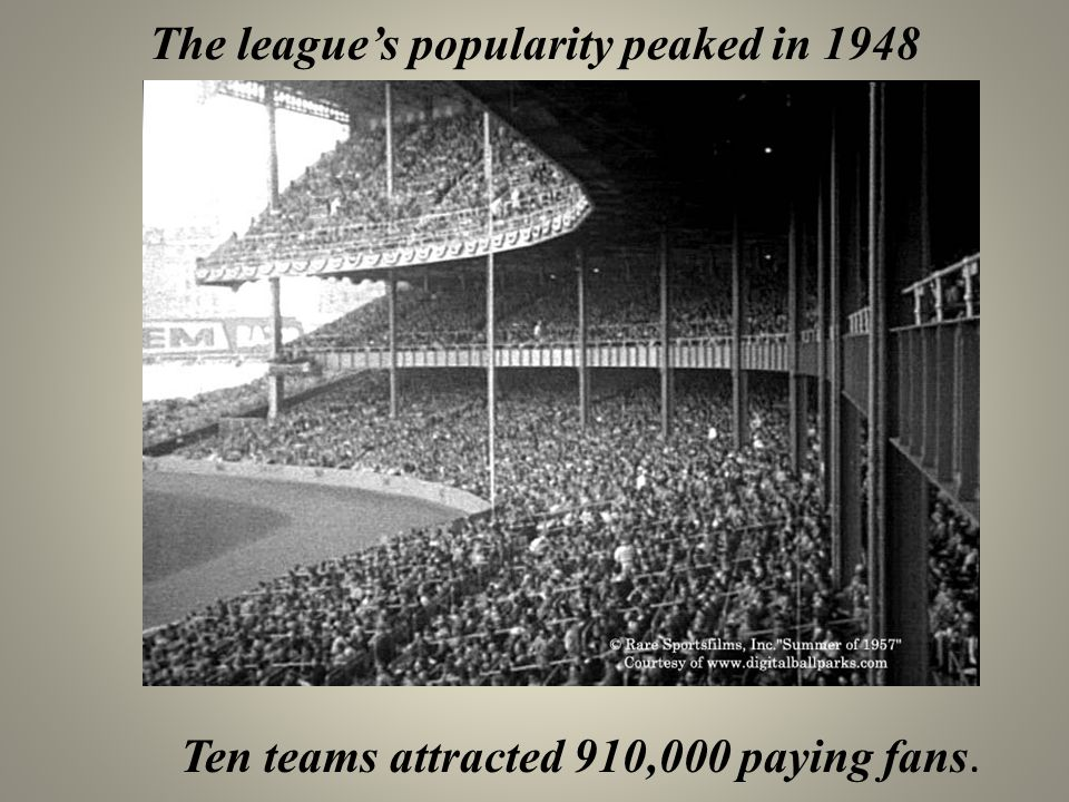 The league's popularity peaked in 1948 Ten teams attracted 910,000 paying fans.