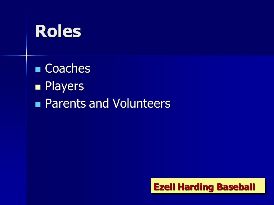 Roles Coaches Coaches Players Players Parents and Volunteers Parents and Volunteers Ezell Harding Baseball