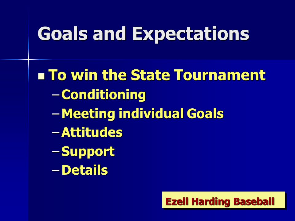 Goals and Expectations To win the State Tournament To win the State Tournament –Conditioning –Meeting individual Goals –Attitudes –Support –Details Ezell Harding Baseball