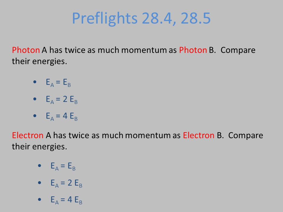 Preflights 28.4, 28.5 Photon A has twice as much momentum as Photon B.