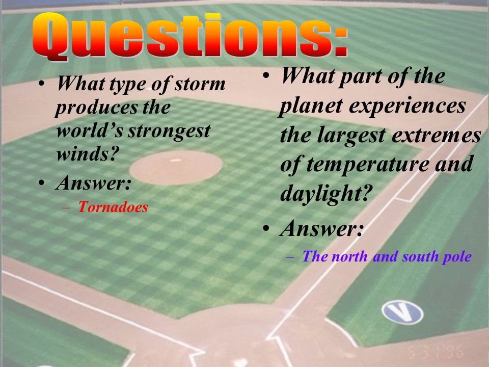 34 What is the difference between climate and weather? Answer: –Climate involves long-term patterns of an area, while weather refers to the specific c