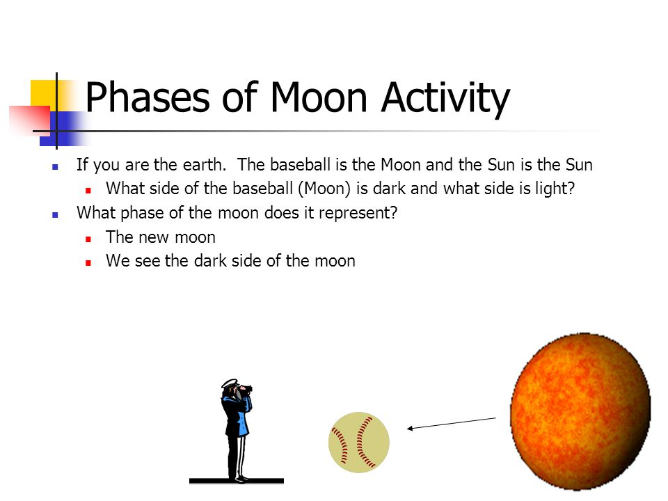 Phases of Moon Activity If you are the earth.