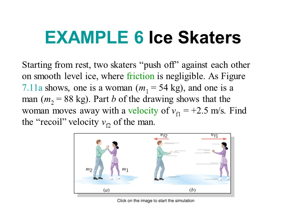 EXAMPLE 6 Ice Skaters Starting from rest, two skaters push off against each other on smooth level ice, where friction is negligible.