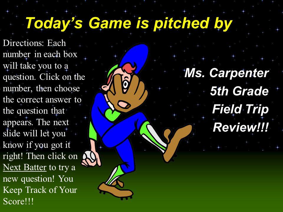 Baseball Challenge! Pinson Fieldtrip Challenge Questions!!!
