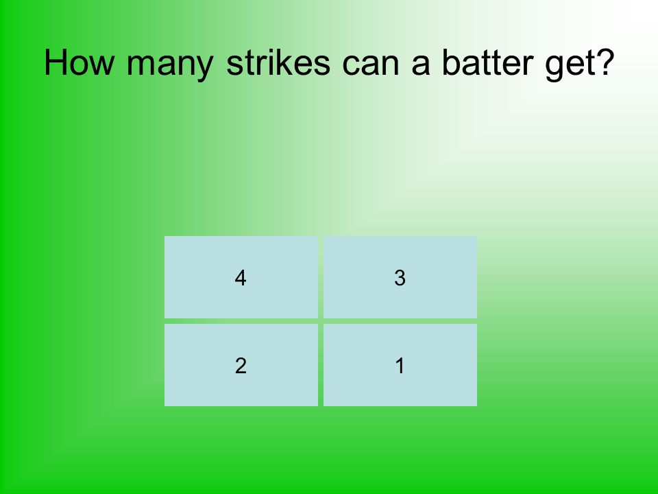 How many strikes can a batter get? 34 21