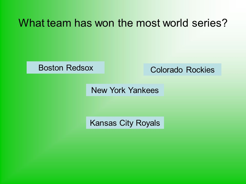 What team has won the most world series? Kansas City Royals New York Yankees Boston Redsox Colorado Rockies