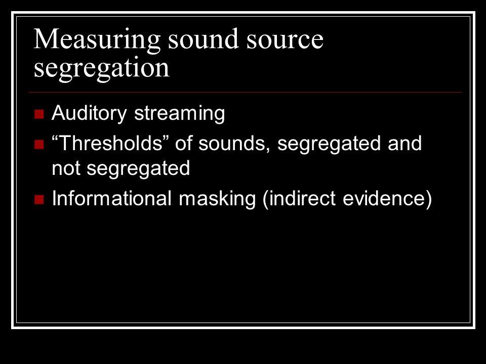 Measuring sound source segregation Auditory streaming Thresholds of sounds, segregated and not segregated Informational masking (indirect evidence)