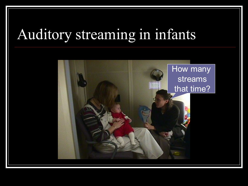 Summary and conclusions Infants and children can segregate sound sources, using the same acoustic cues that adults use.