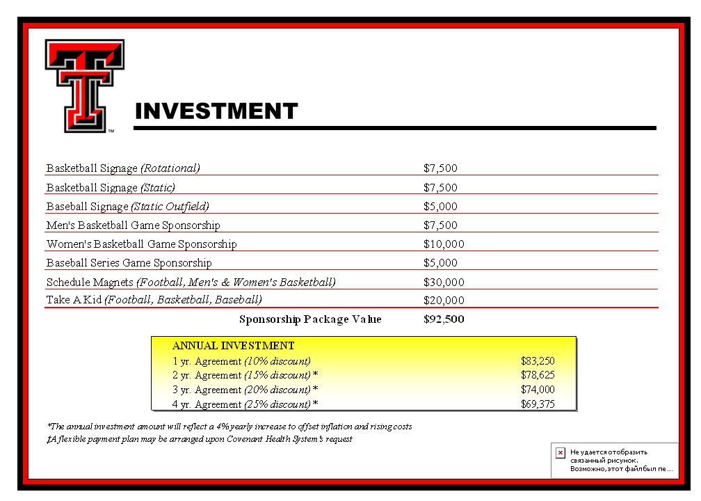 Corporate Sponsorship Proposal INVESTMENT