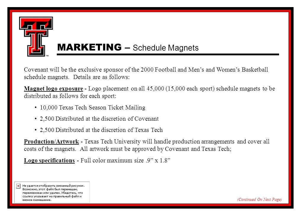 MARKETING – Schedule Magnets Covenant will be the exclusive sponsor of the 2000 Football and Men's and Women's Basketball schedule magnets.