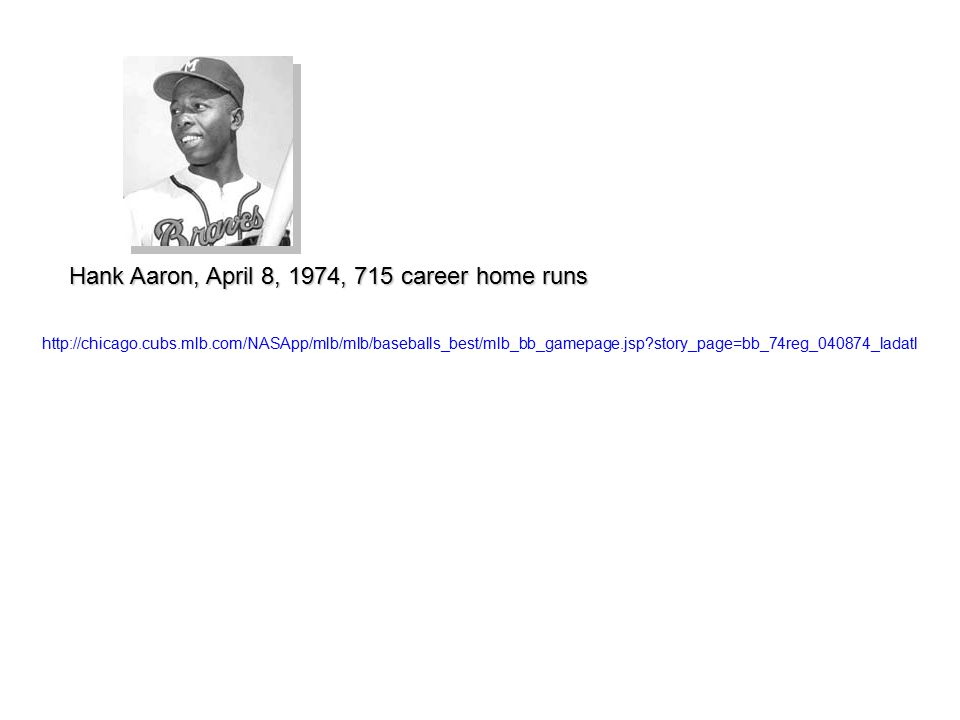http://chicago.cubs.mlb.com/NASApp/mlb/mlb/baseballs_best/mlb_bb_gamepage.jsp story_page=bb_74reg_040874_ladatl Hank Aaron, April 8, 1974, 715 career home runs