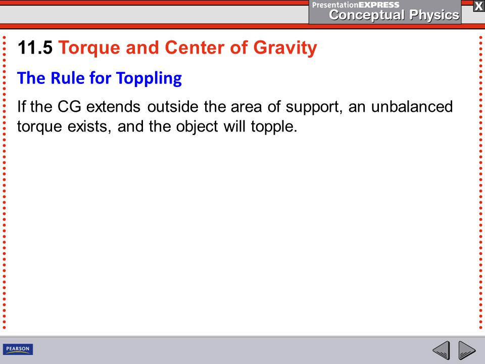 The Rule for Toppling If the CG extends outside the area of support, an unbalanced torque exists, and the object will topple.