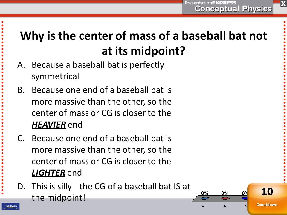 Why is the center of mass of a baseball bat not at its midpoint.