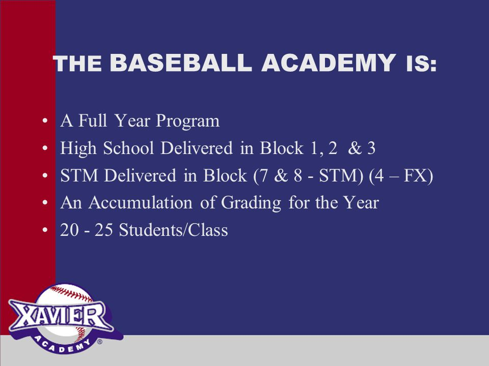 THE BASEBALL ACADEMY IS: A Full Year Program High School Delivered in Block 1, 2 & 3 STM Delivered in Block (7 & 8 - STM) (4 – FX) An Accumulation of Grading for the Year 20 - 25 Students/Class