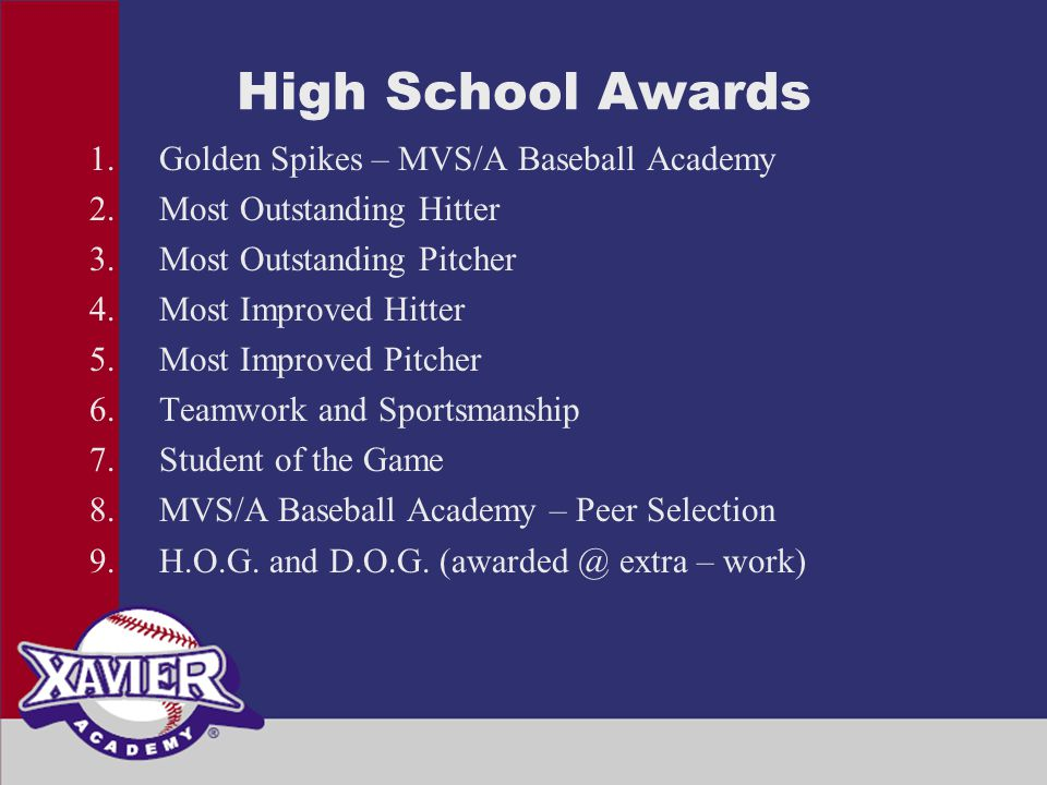 High School Awards 1.Golden Spikes – MVS/A Baseball Academy 2.Most Outstanding Hitter 3.Most Outstanding Pitcher 4.Most Improved Hitter 5.Most Improved Pitcher 6.Teamwork and Sportsmanship 7.Student of the Game 8.MVS/A Baseball Academy – Peer Selection 9.H.O.G.