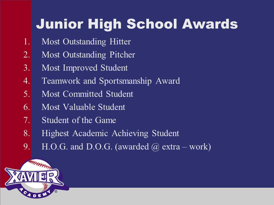 Junior High School Awards 1.Most Outstanding Hitter 2.Most Outstanding Pitcher 3.Most Improved Student 4.Teamwork and Sportsmanship Award 5.Most Committed Student 6.Most Valuable Student 7.Student of the Game 8.Highest Academic Achieving Student 9.H.O.G.