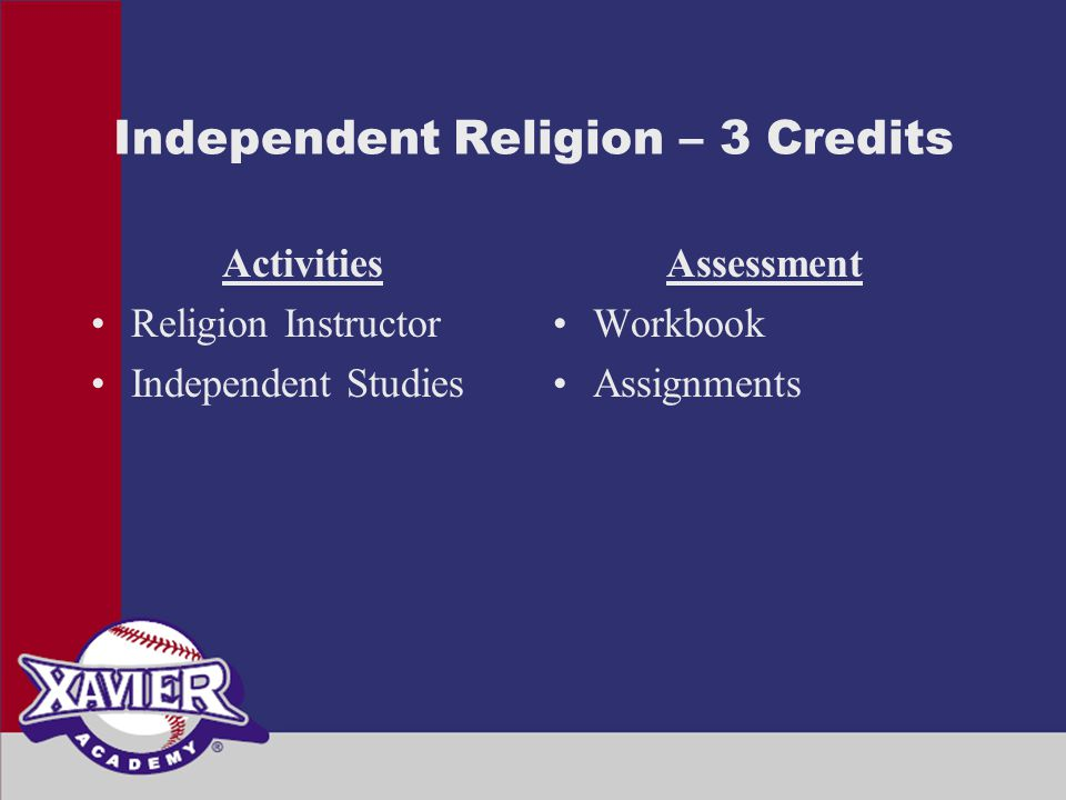 Independent Religion – 3 Credits Activities Religion Instructor Independent Studies Assessment Workbook Assignments