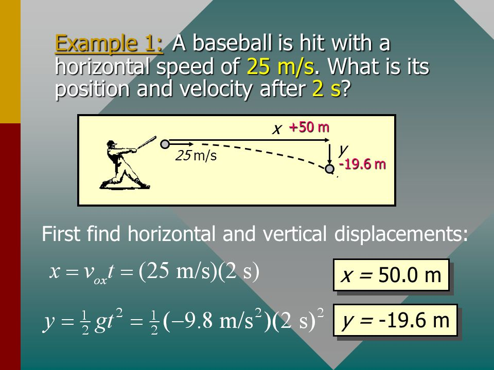 Velocity Calculations for Horizontal Projection (cont.): For any constant acceleration: Horizontal velocity: Vertical velocity: For the special case o
