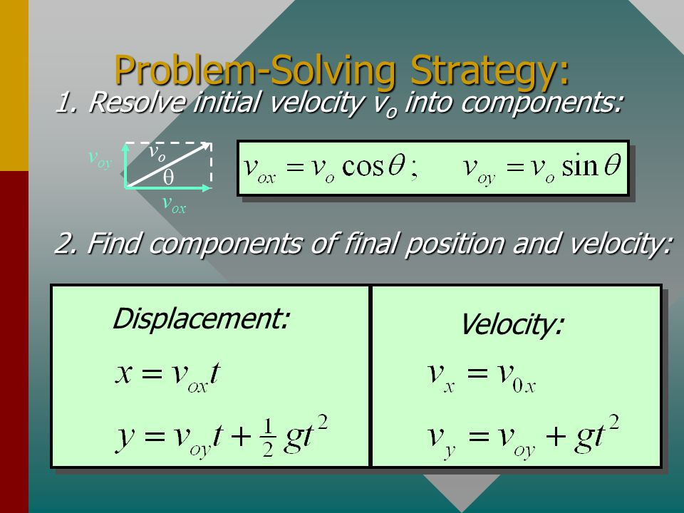 Velocity Calculations For General Projection: The components of velocity at time t are: For projectiles: Thus, the velocity components v x and v y for