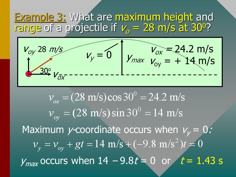 (Cont.) Next, we find the velocity after 4 s from the components v 4x and v 4y. v 4 = 146 ft/s   = 341.7 0 v oy = 80.0 ft/s 160 ft/s  0 s4 s g = -3