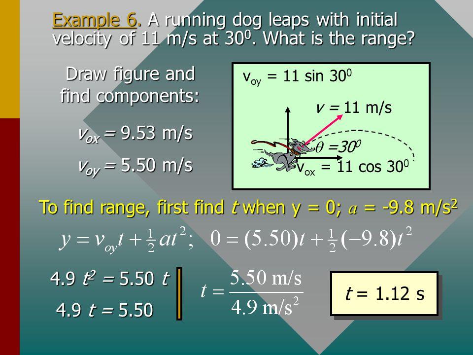 v o =25 m/s 60 0 y = 0; a = -9.8 m/s 2 Time of flight t v ox = v o cos  v oy = v o sin  Initial v o : 4.9 t 2 = 21.7 t 4.9 t = 21.7 t = 4.42 s Examp