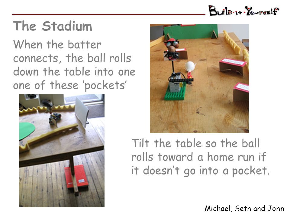 When the batter connects, the ball rolls down the table into one one of these 'pockets' The Stadium Michael, Seth and John Tilt the table so the ball
