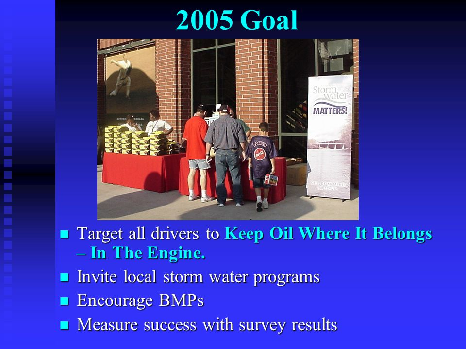 2005 Goal Target all drivers to Keep Oil Where It Belongs – In The Engine. Target all drivers to Keep Oil Where It Belongs – In The Engine. Invite loc