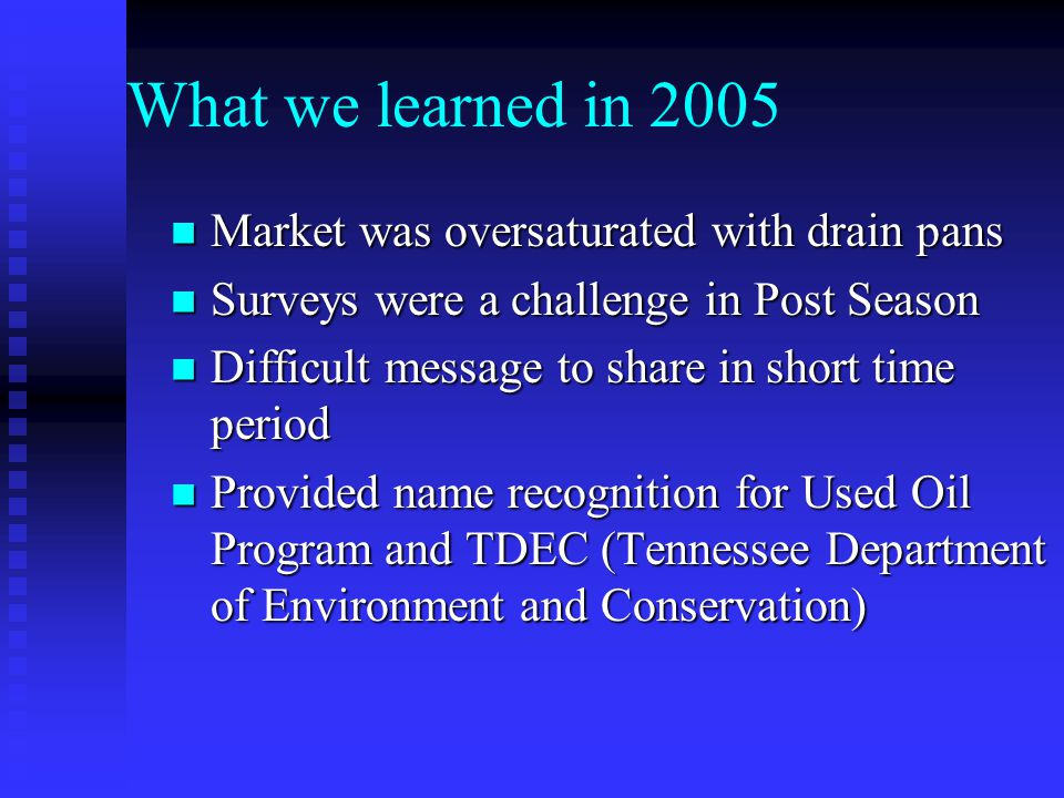 What we learned in 2005 Market was oversaturated with drain pans Market was oversaturated with drain pans Surveys were a challenge in Post Season Surveys were a challenge in Post Season Difficult message to share in short time period Difficult message to share in short time period Provided name recognition for Used Oil Program and TDEC (Tennessee Department of Environment and Conservation) Provided name recognition for Used Oil Program and TDEC (Tennessee Department of Environment and Conservation)