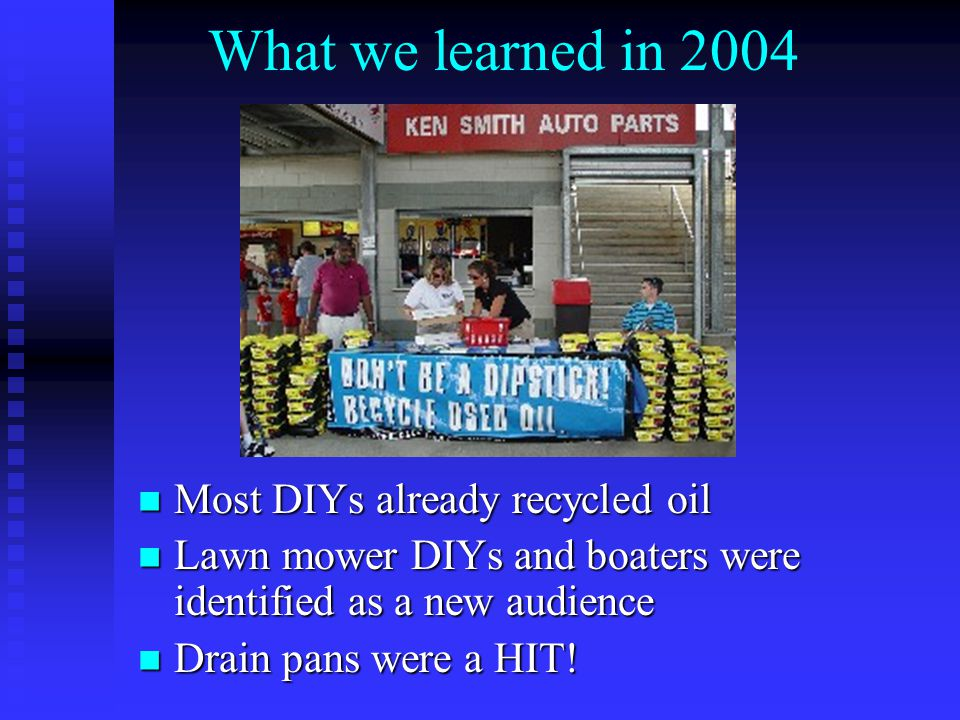 What we learned in 2004 Most DIYs already recycled oil Most DIYs already recycled oil Lawn mower DIYs and boaters were identified as a new audience La