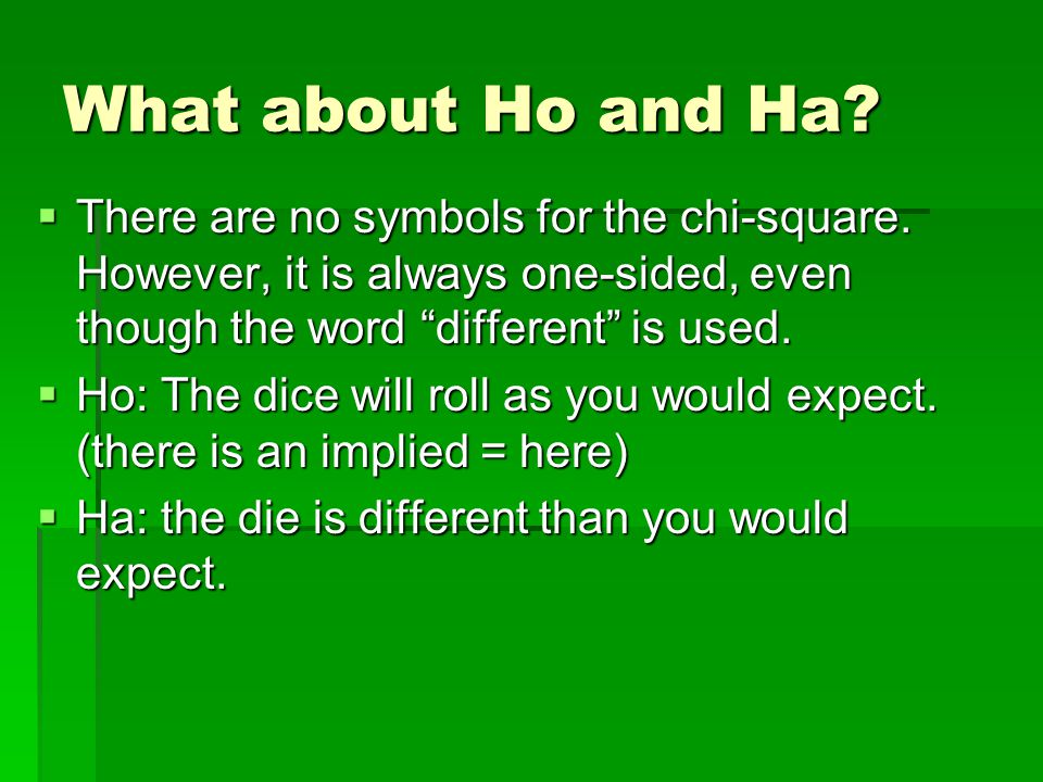 "What about Ho and Ha?  There are no symbols for the chi-square. However, it is always one-sided, even though the word ""different"" is used.  Ho: The"