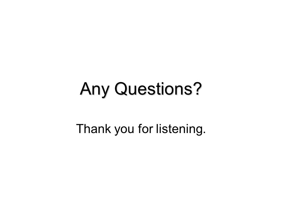 Any Questions Thank you for listening.