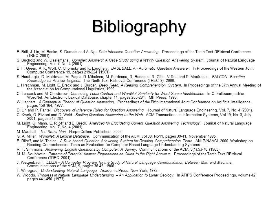 Bibliography E. Brill, J. Lin, M. Banko, S. Dumais and A.