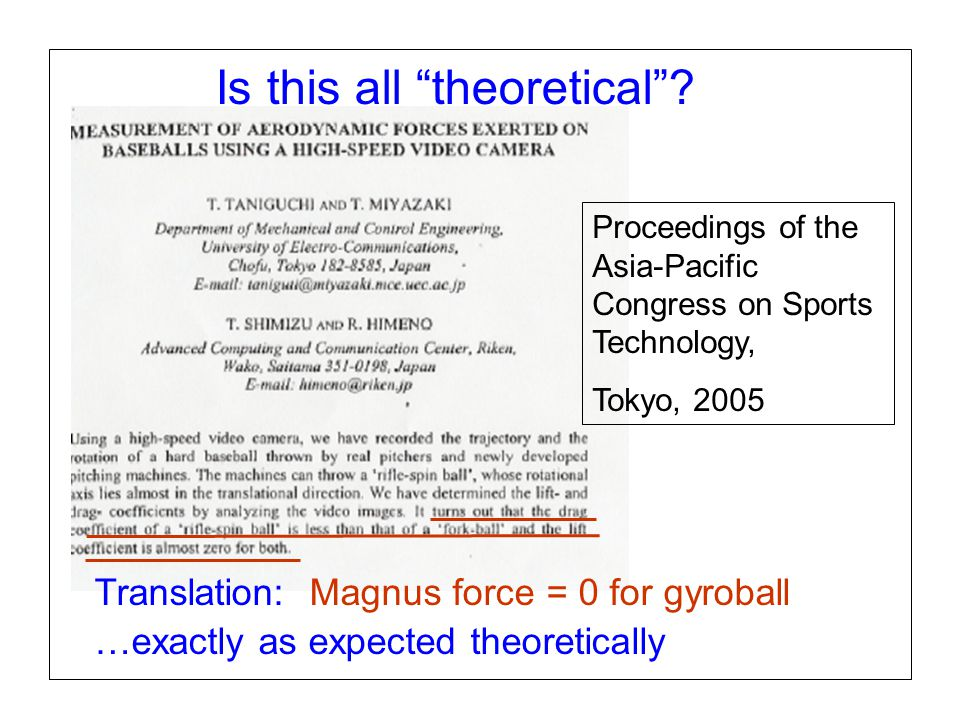 "Page 16 SABR37, July 27, 2007 Alan M. Nathan Is the gyroball a miracle pitch? Is this all ""theoretical""? Proceedings of the Asia-Pacific Congress on S"
