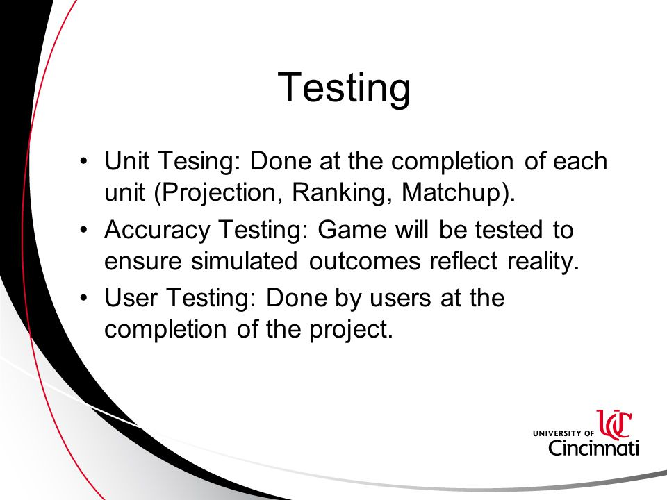 Testing Unit Tesing: Done at the completion of each unit (Projection, Ranking, Matchup).
